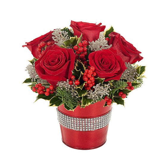 Holiday Rose & Glitter Bouquet (BF443-11KM)