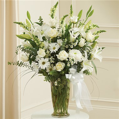 Large White Sympathy Vase Arrangement The Bay Window Flower Gift